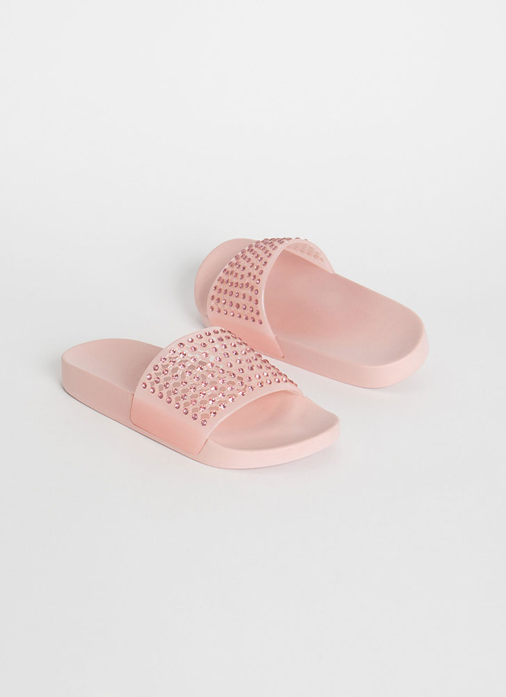 Caught In The Net Jeweled Slide Sandals BLUSH