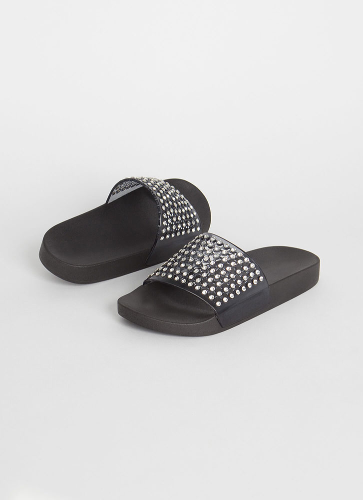 Caught In The Net Jeweled Slide Sandals SMOKE
