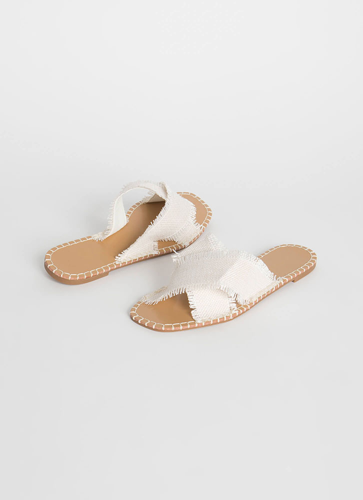 X On The Beach Fringed Slide Sandals BEIGE