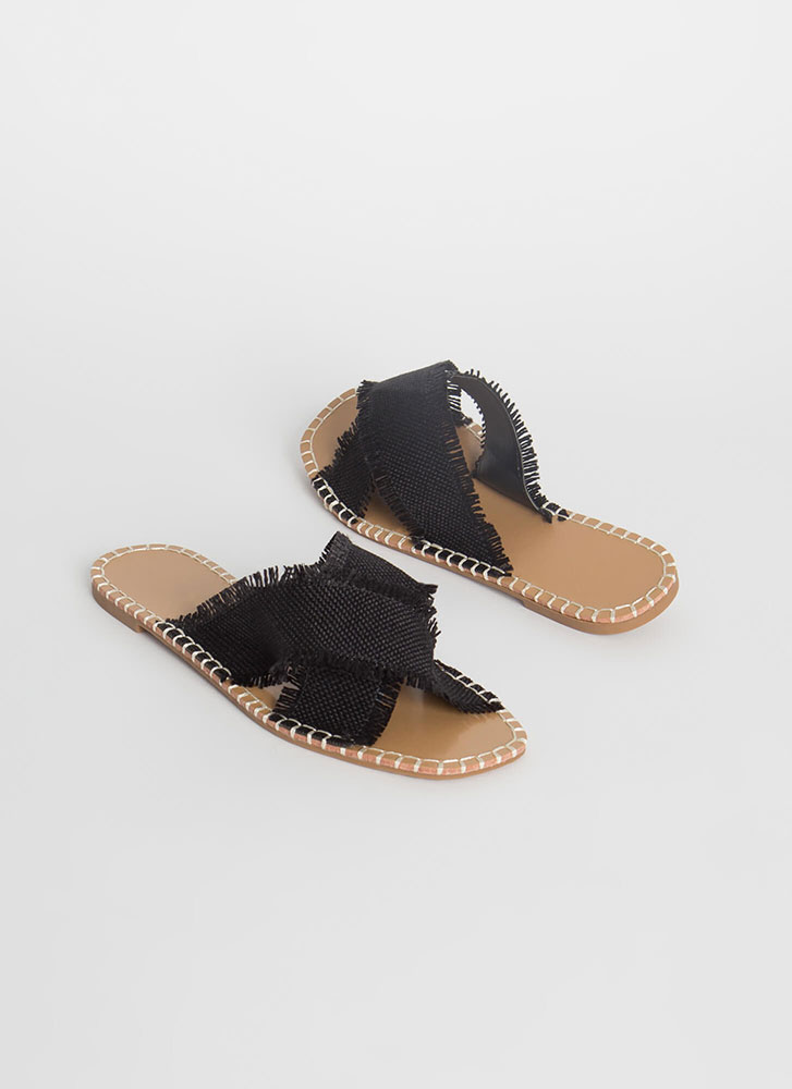 X On The Beach Fringed Slide Sandals BLACK