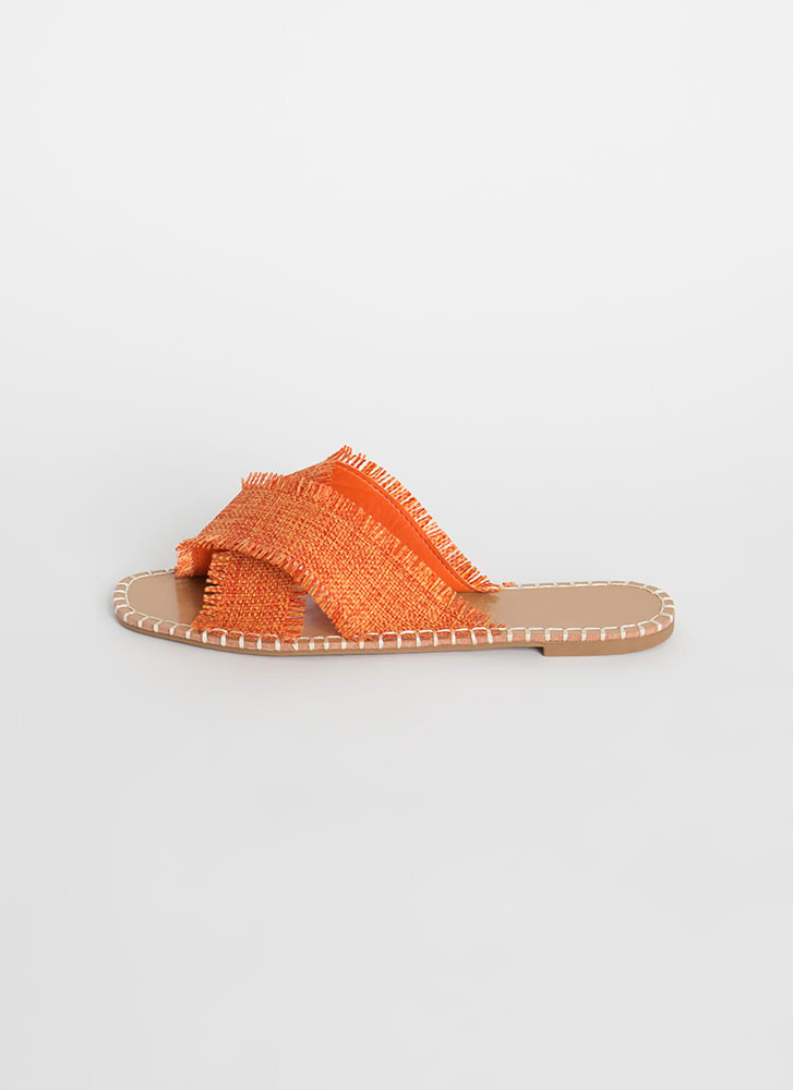 X On The Beach Fringed Slide Sandals ORANGE