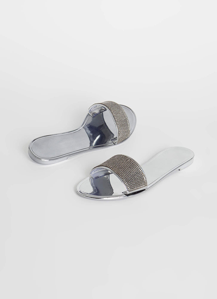 So Jelly Jeweled Metallic Slide Sandals PEWTER
