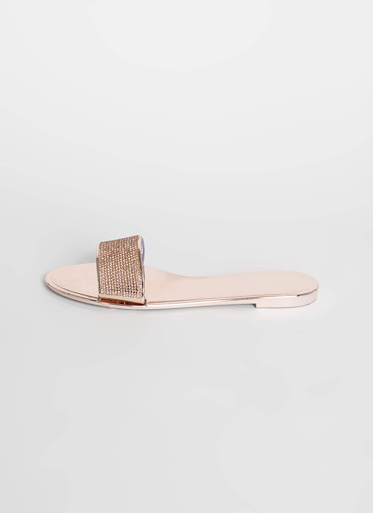 So Jelly Jeweled Metallic Slide Sandals ROSEGOLD