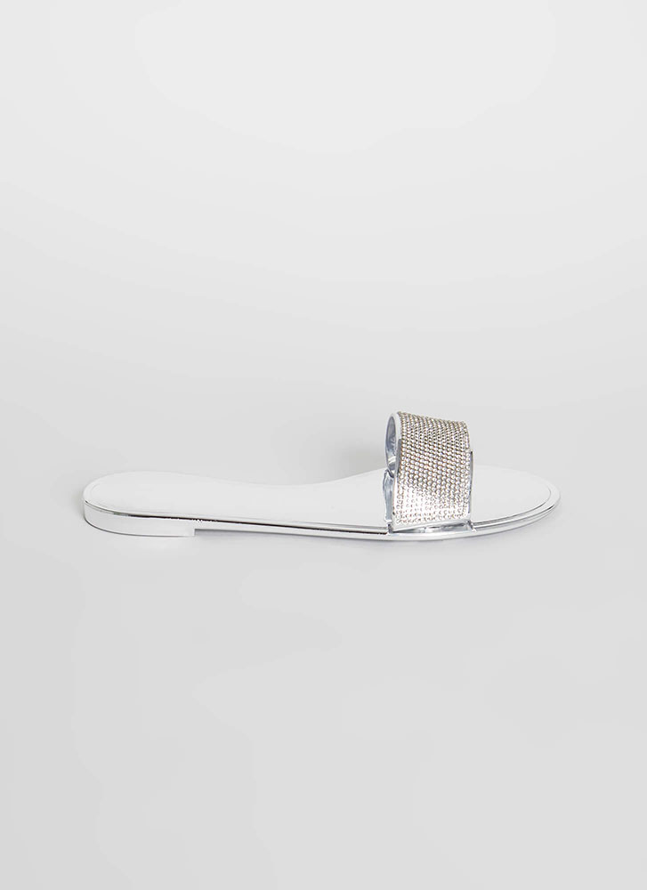 So Jelly Jeweled Metallic Slide Sandals SILVER