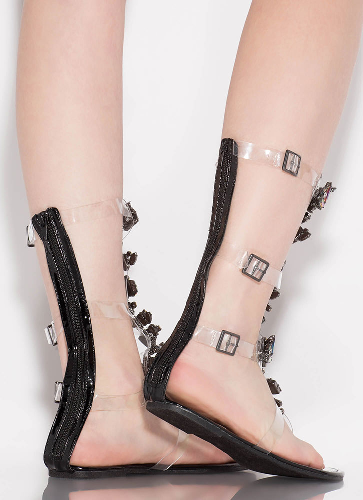 Clear Winner Jeweled Gladiator Sandals BLACK
