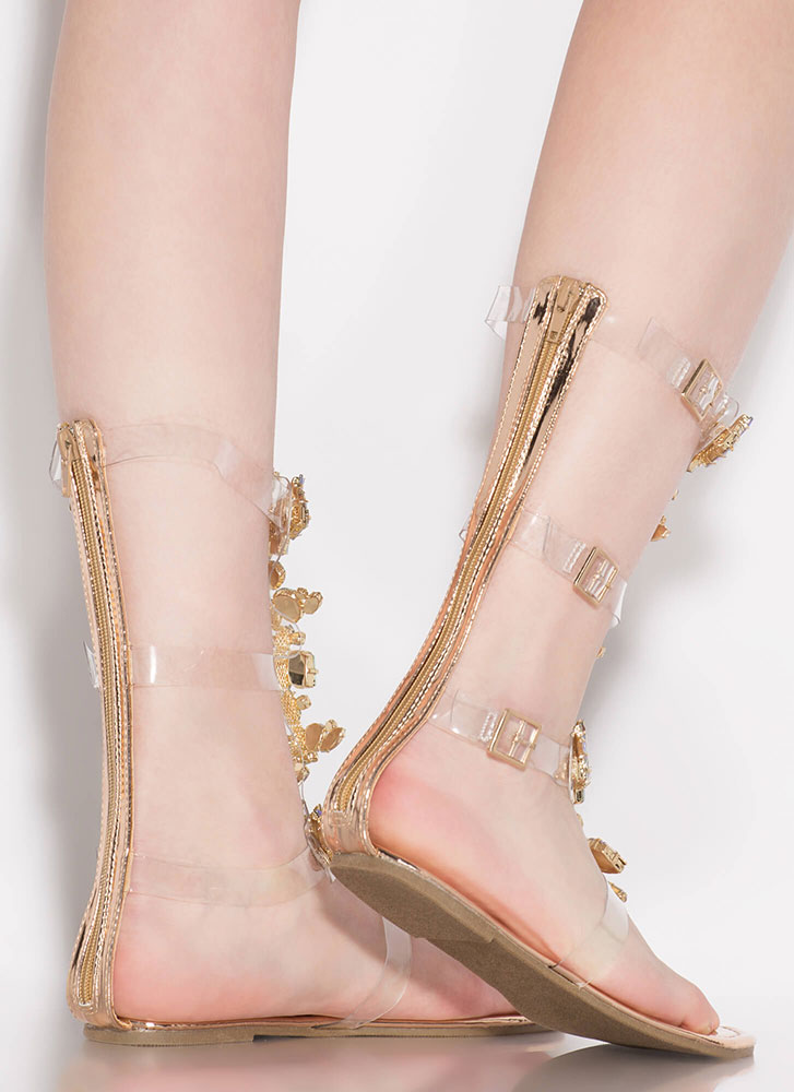 Clear Winner Jeweled Gladiator Sandals ROSEGOLD