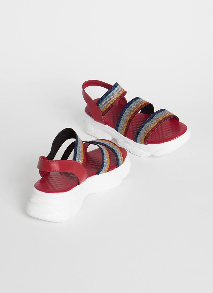 Sparkly Colors Striped Platform Sandals RED