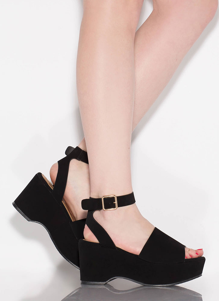 Day Date Faux Nubuck Ankle Strap Wedges BLACK