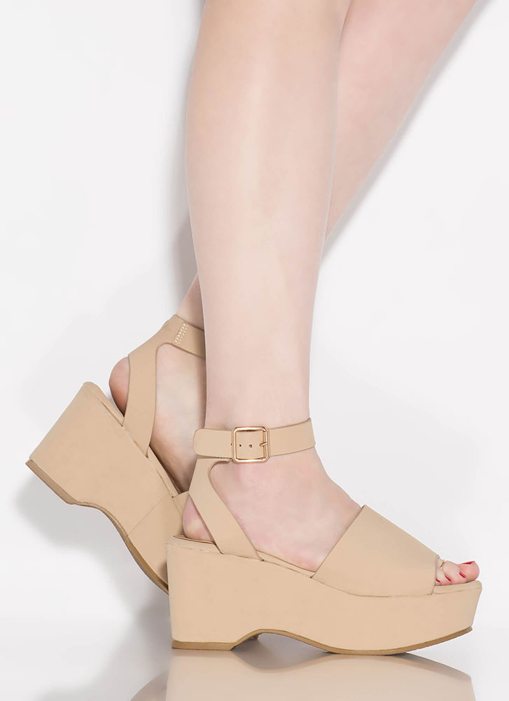 Day Date Faux Nubuck Ankle Strap Wedges NUDE