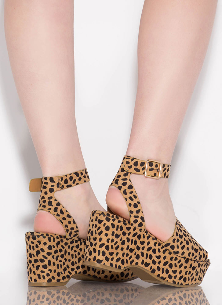 Day Date Spotted Ankle Strap Wedges CHEETAH