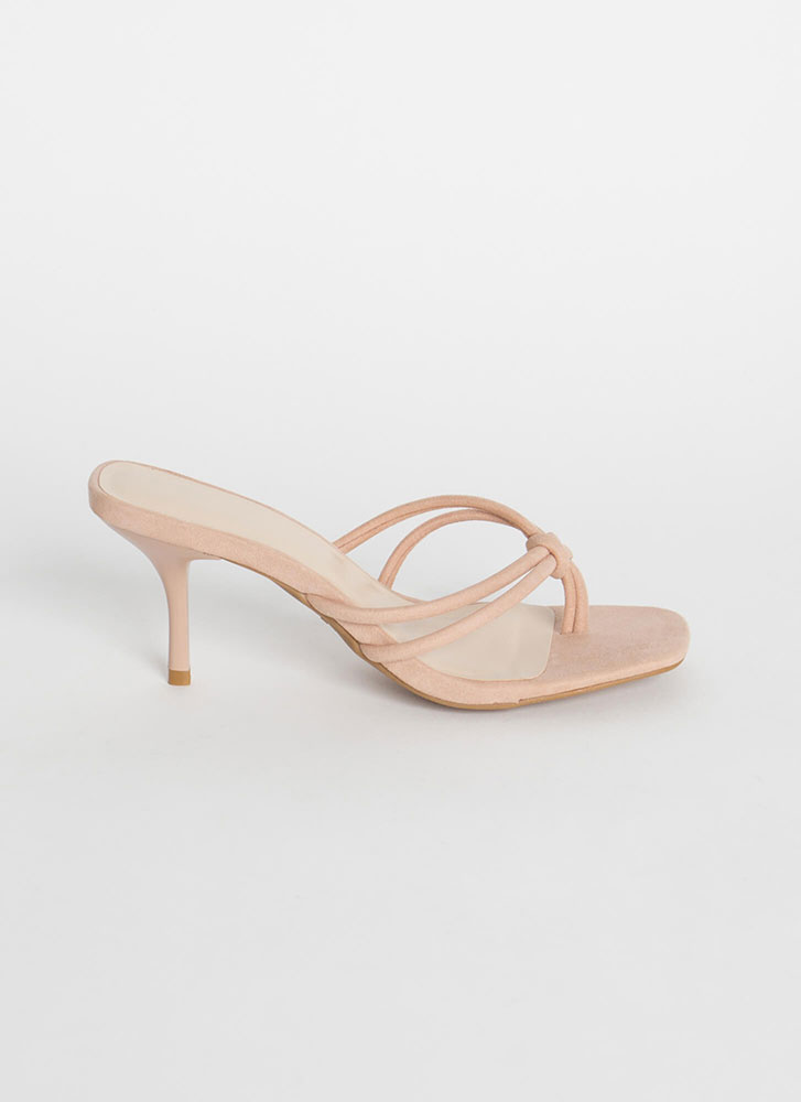 Knot Gonna Happen Strappy Thong Heels NUDE