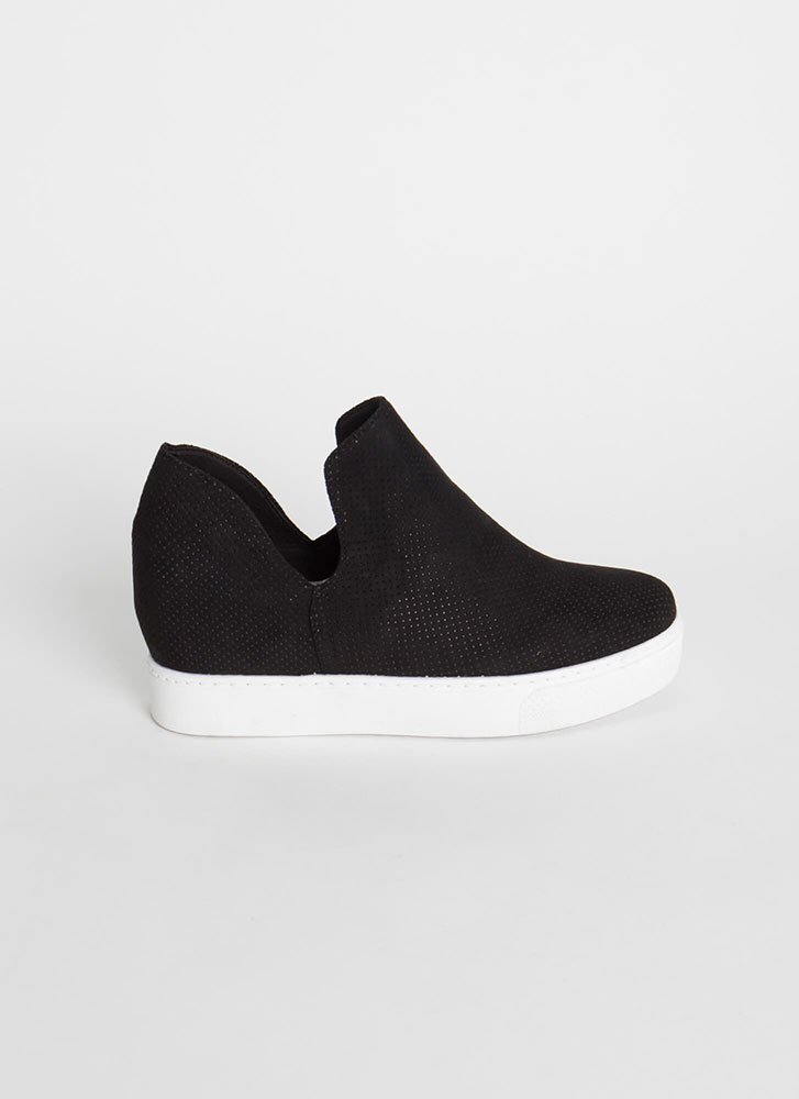 Upgrade Me Perforated Wedge Sneakers BLACK