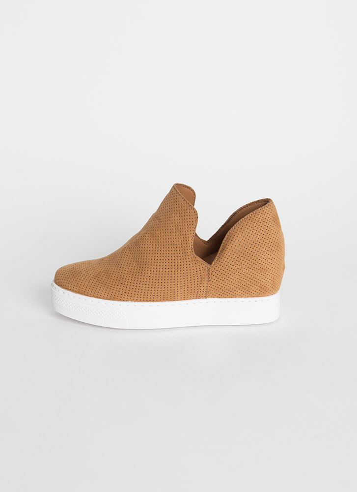 Upgrade Me Perforated Wedge Sneakers TAN
