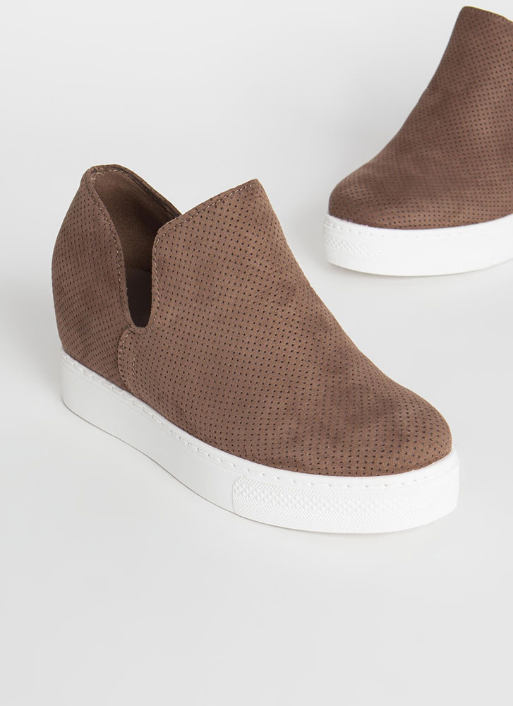 Upgrade Me Perforated Wedge Sneakers TAUPE