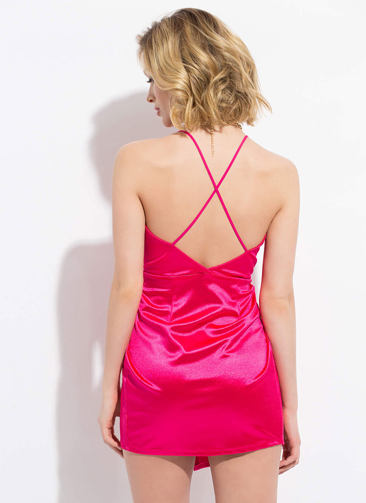 Wrapped In Satin Draped Minidress BERRY