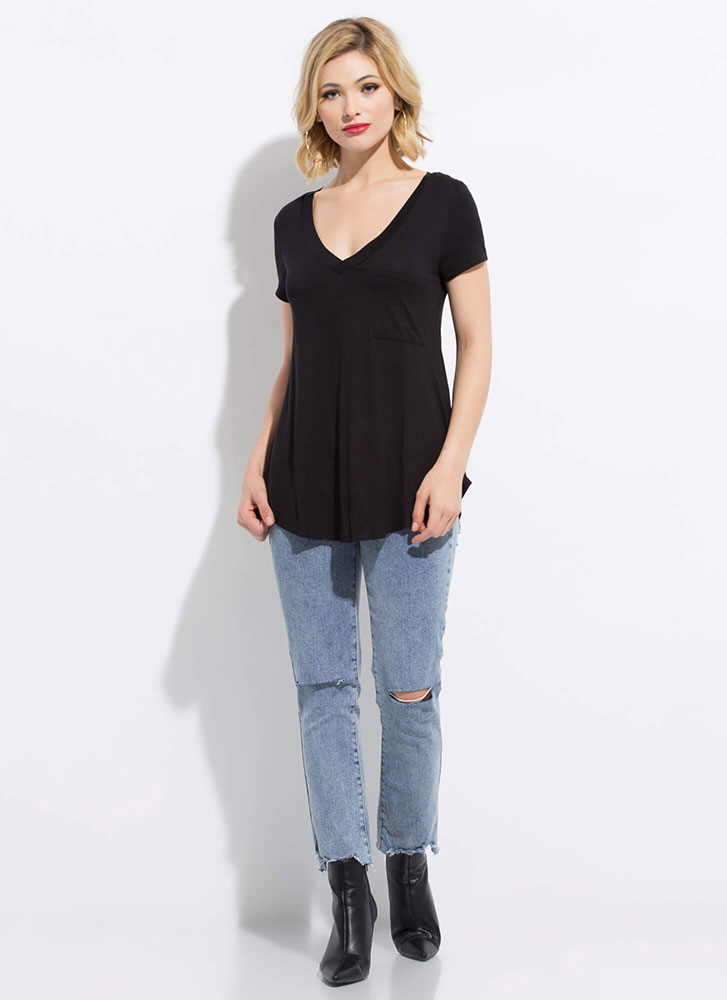 Light And Casual Flared Pocket Tee BLACK
