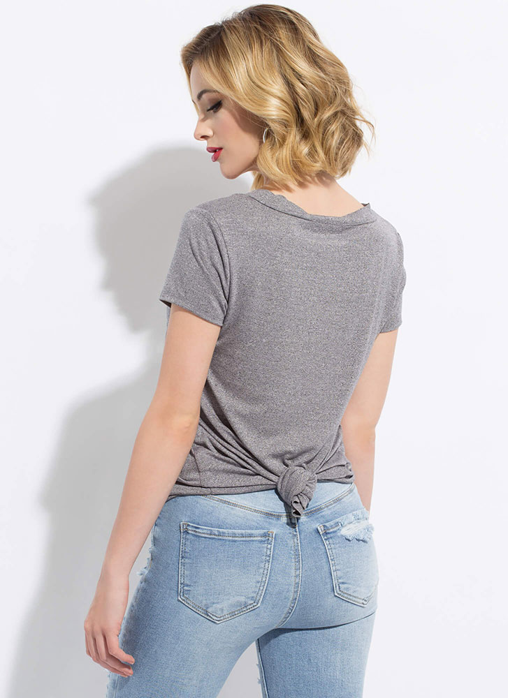 Light And Casual Flared Pocket Tee HGREY