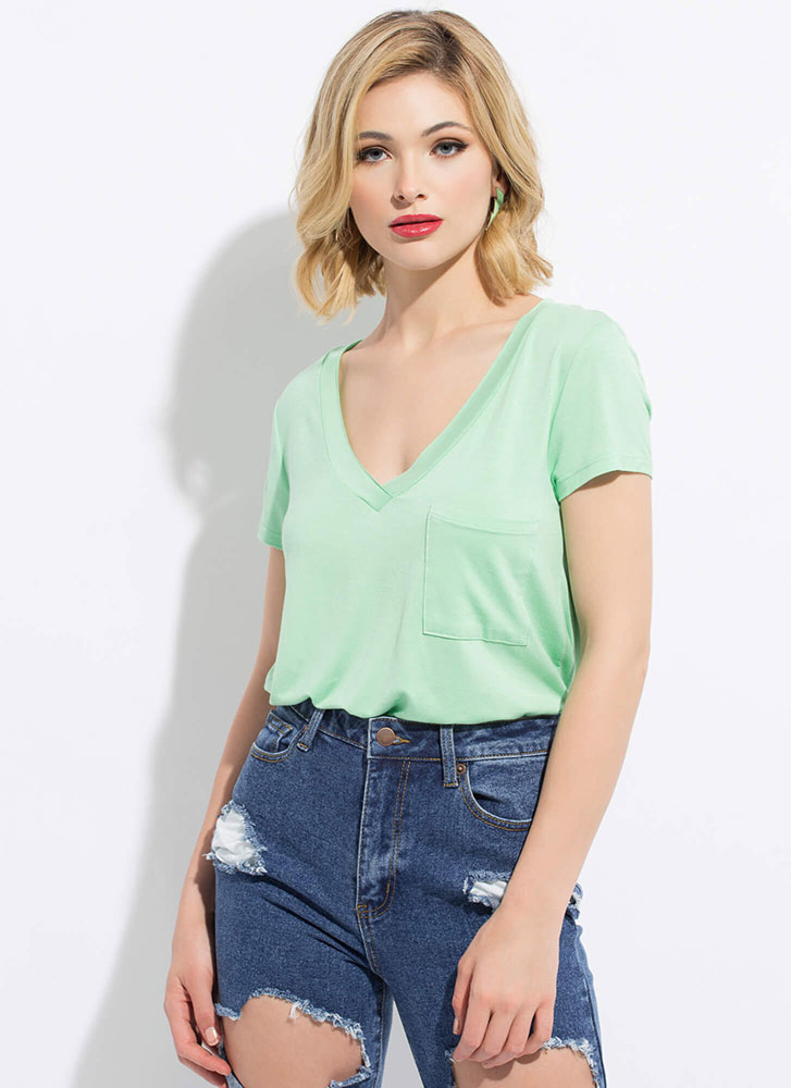 Light And Casual Flared Pocket Tee MINT