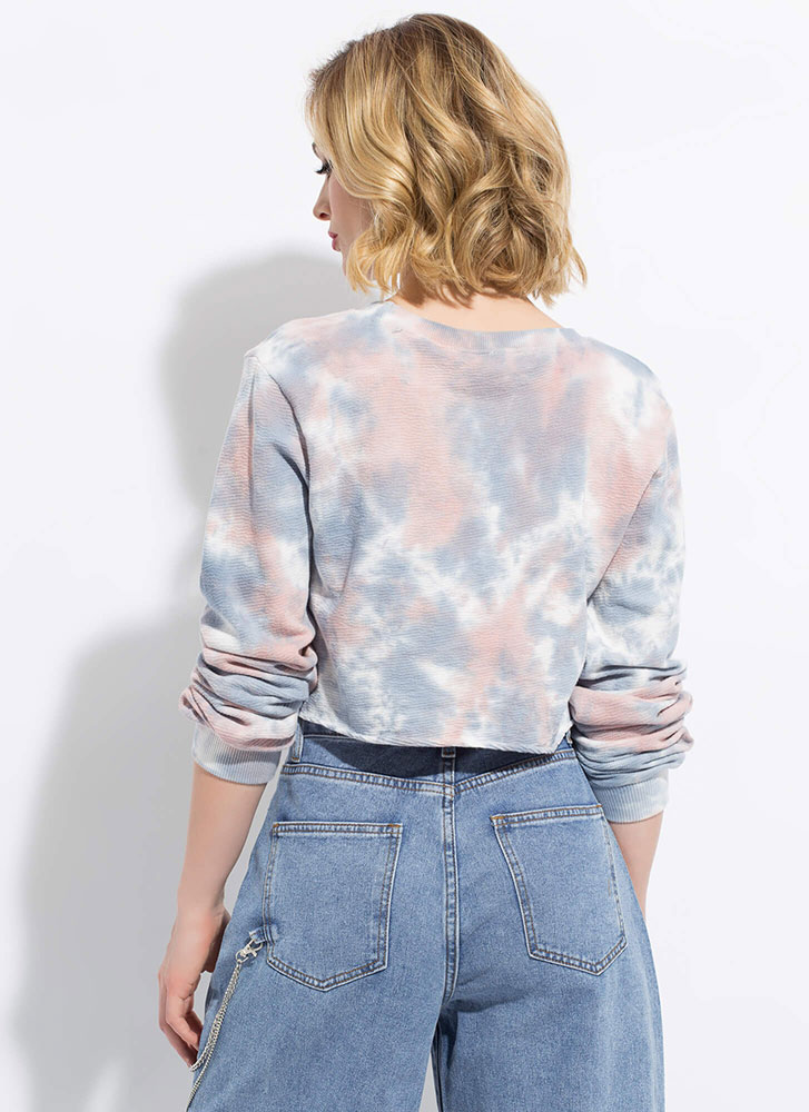 Cloud Nine Cropped Tie-Dye Sweatshirt BLUEPINK