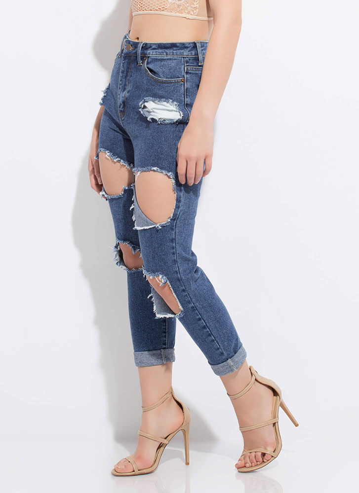Sorry Mom Cut-Out Girlfriend Jeans BLUE