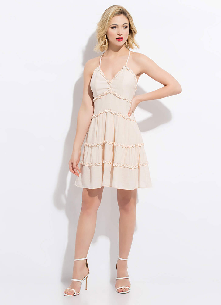 Tiers Of Joy Flared Frilly Trim Dress NATURAL