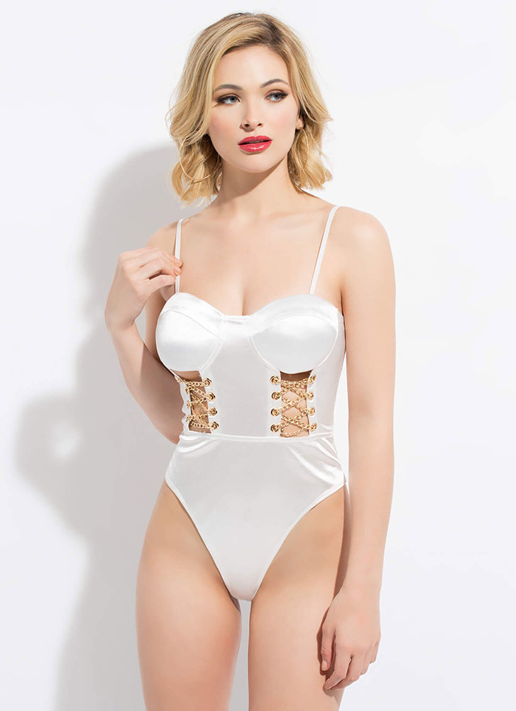 Chain Reaction Cut-Out Satin Bodysuit WHITE