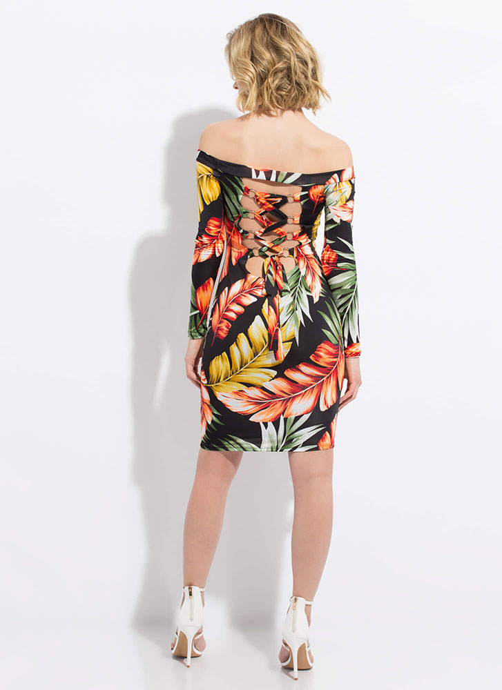 Leaf Me In The Tropics Lace-Back Dress BLACK (Final Sale)