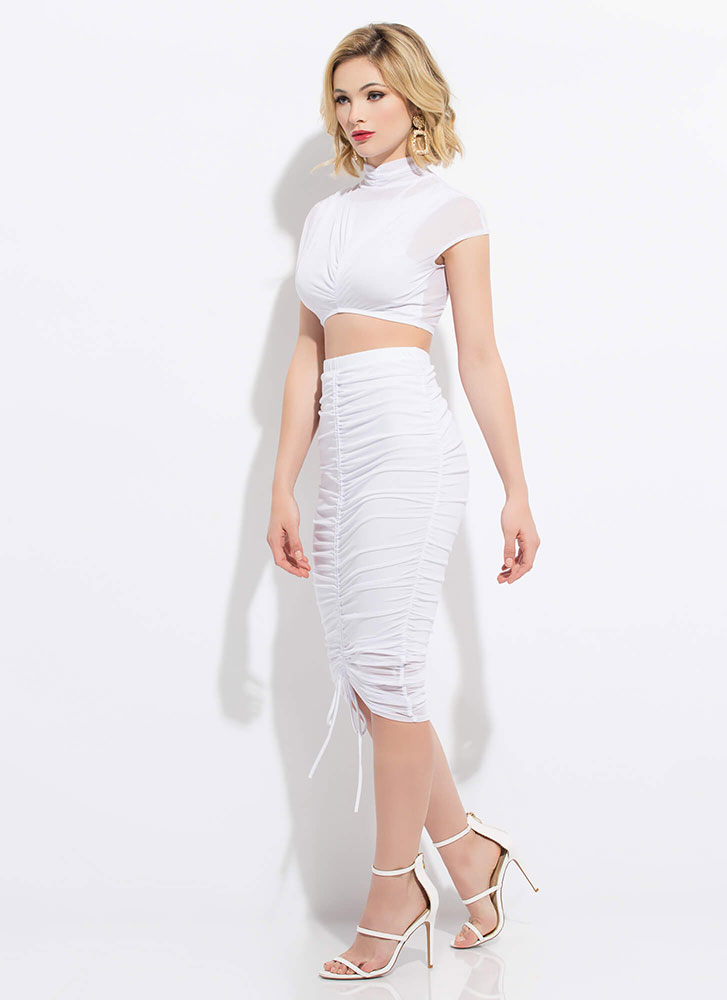 Shirr Of It Sheer Top And Skirt Set WHITE