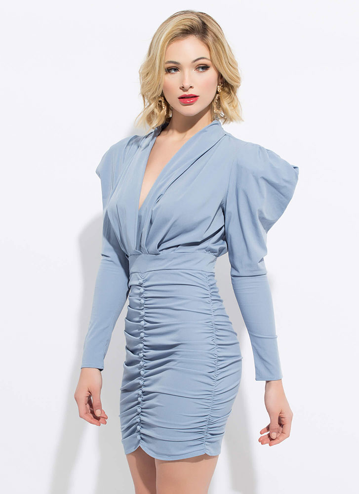 Strong Shoulders Puffy Ruched Minidress BLUE