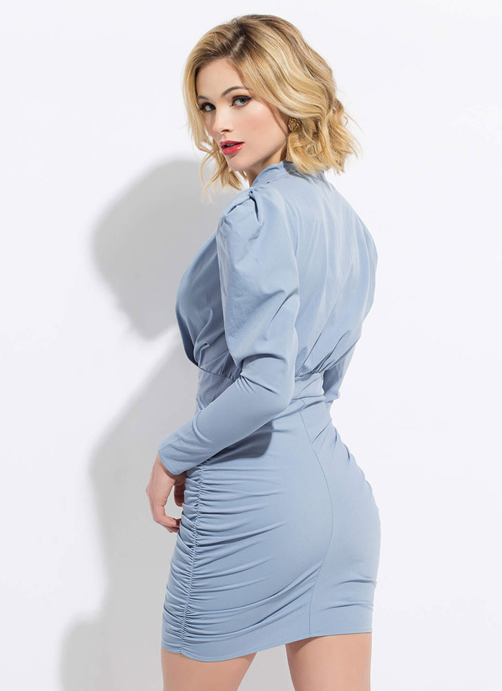 Strong Shoulders Puffy Ruched Minidress BLUE (Final Sale)
