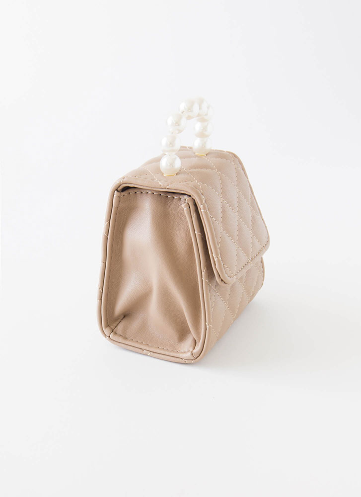 Pearls And Purses Quilted Mini Clutch KHAKI