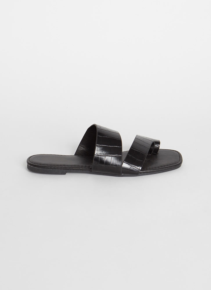 Two Toes Up Faux Crocodile Slide Sandals BLACK
