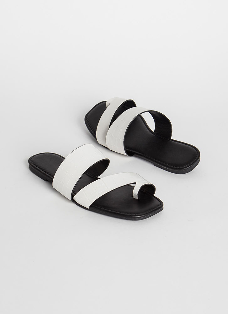 Two Toes Up Faux Crocodile Slide Sandals WHITE