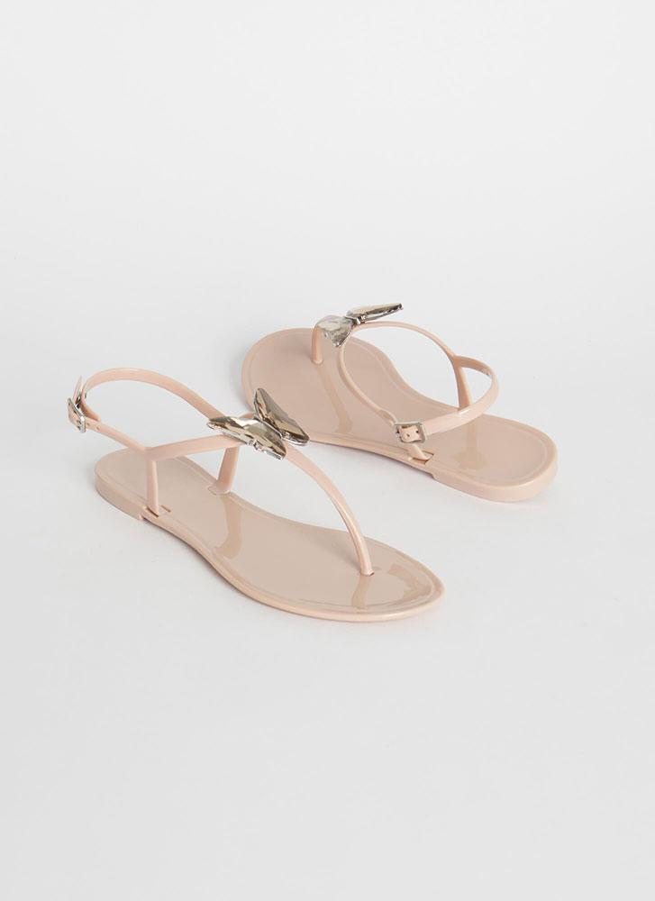 Butterfly Wings Jelly T-Strap Sandals NUDE