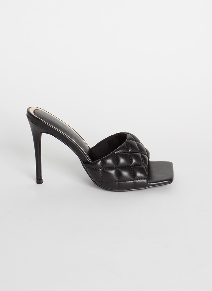 Luxe Be A Lady Quilted Mule Heels BLACK