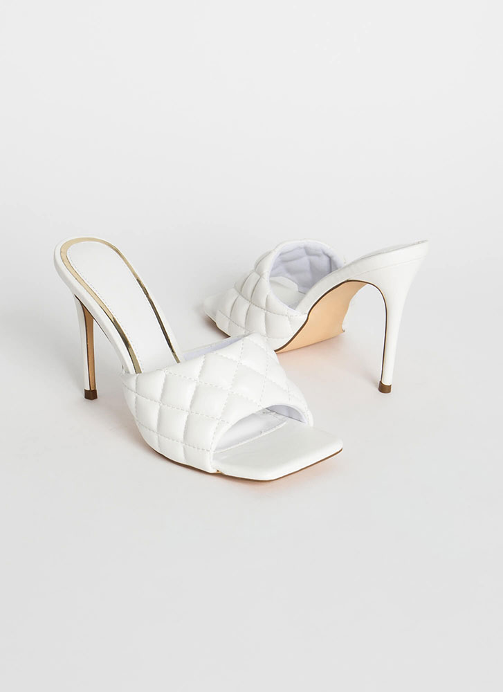 Luxe Be A Lady Quilted Mule Heels WHITE