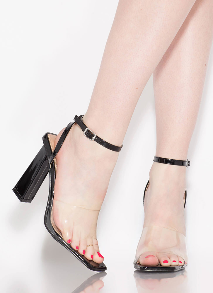 Next-Bevel Ankle Strap Illusion Heels BLACK