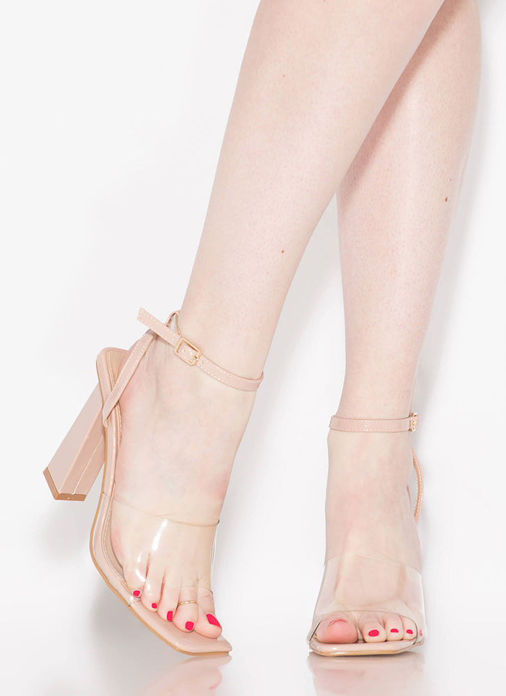Next-Bevel Ankle Strap Illusion Heels NUDE