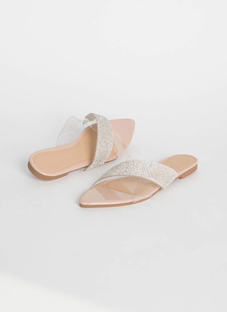 X-tra Credit Clear Jeweled Slide Sandals NUDE