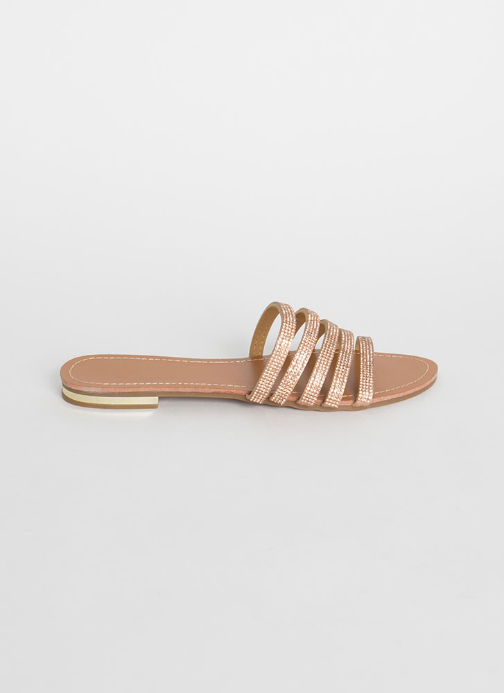 Take Five Rhinestone Strap Slide Sandals ROSEGOLD