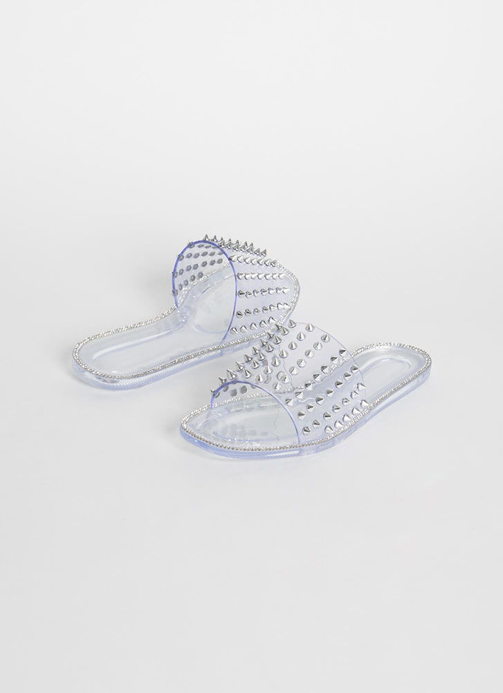 Get Edgy Spike-Studded Slide Sandals CLEAR