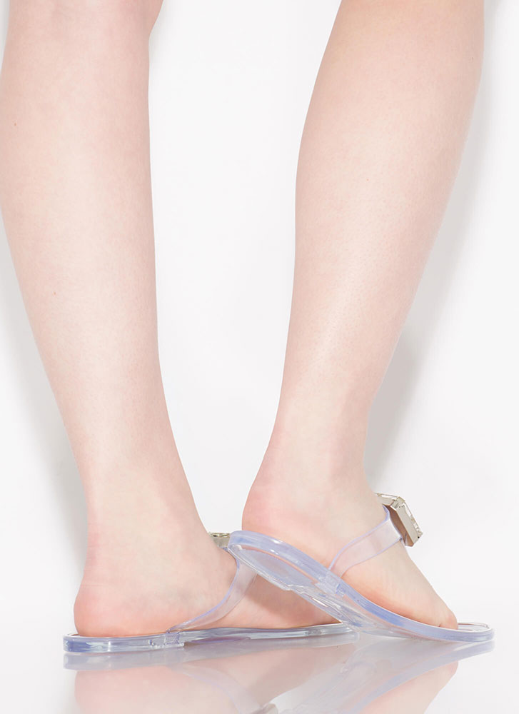 Jewel Appraisal Jelly Thong Sandals CLEAR