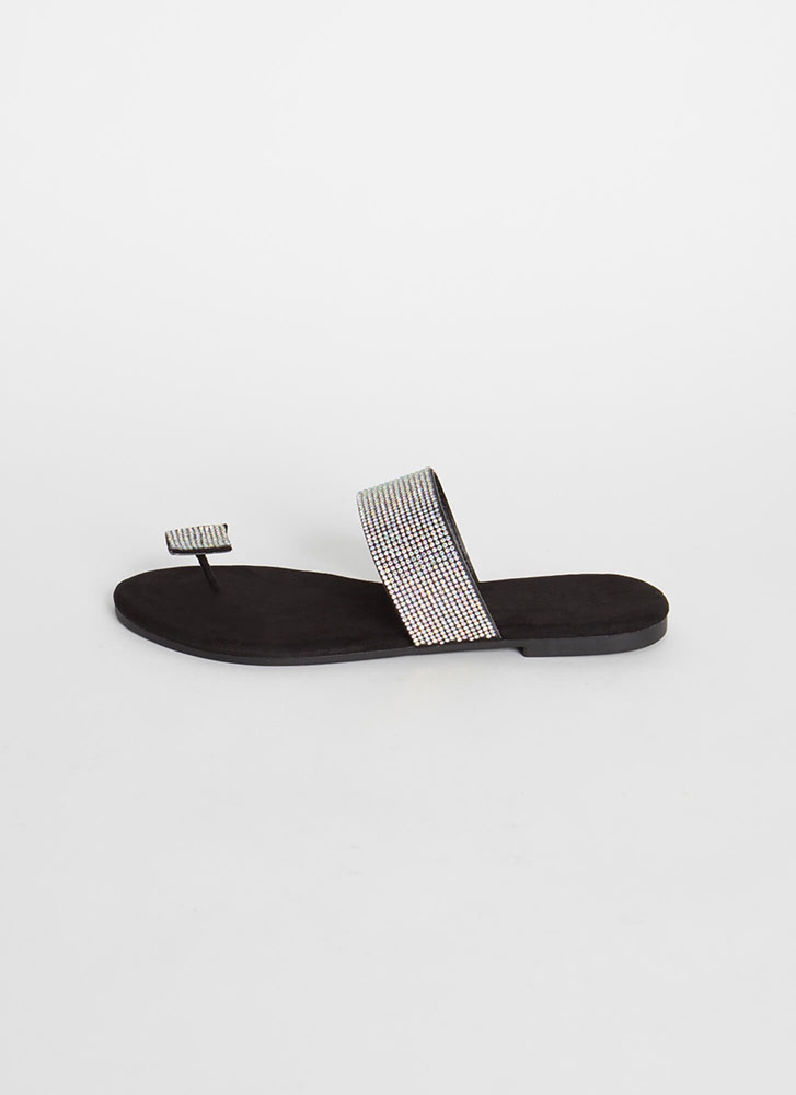Square Off Jeweled Toe Strap Sandals BLACK
