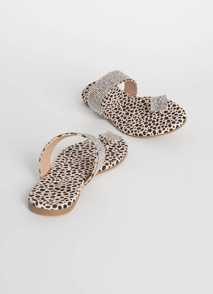 Square Off Jeweled Toe Strap Sandals LEOPARD