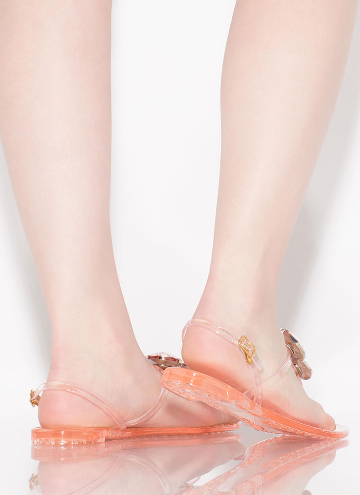 Crown Jewels Jelly Thong Sandals NUDE