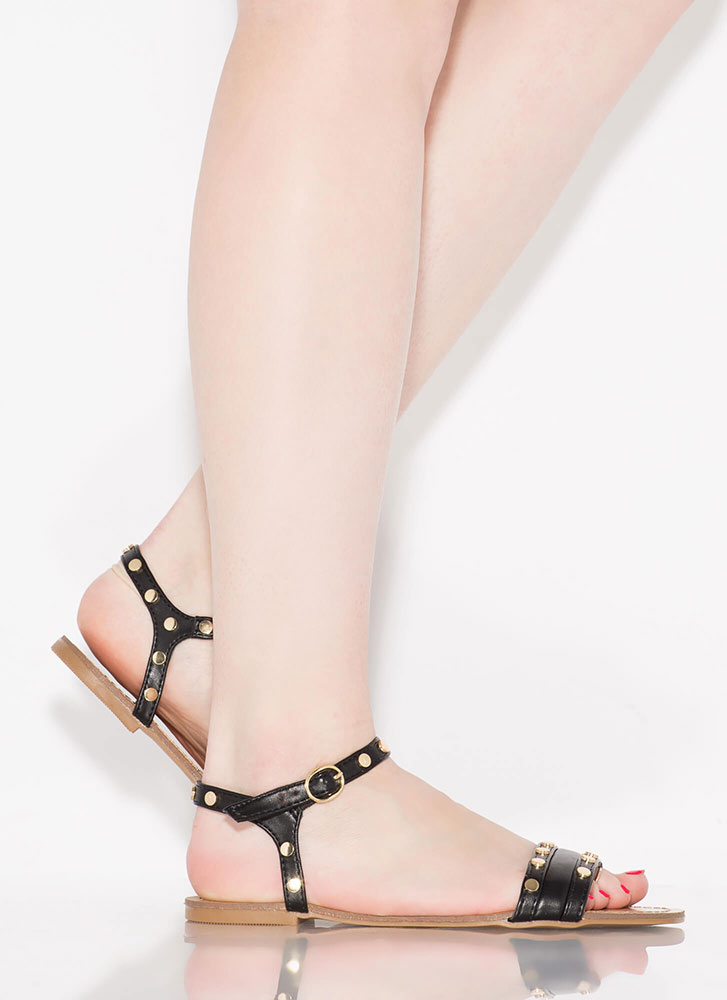 My Stud Faux Leather Ankle Strap Sandals BLACK