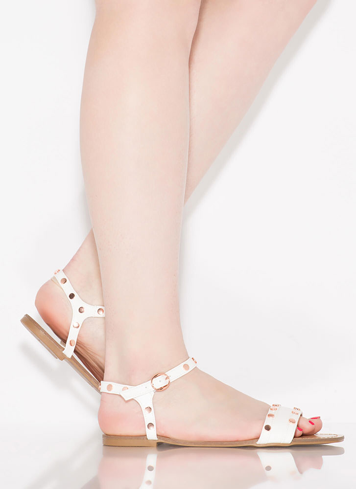 My Stud Faux Leather Ankle Strap Sandals WHITE