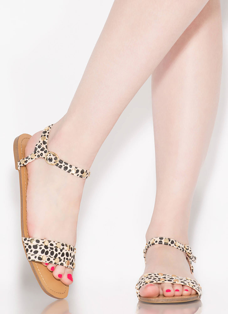 My Stud Cheetah Ankle Strap Sandals LEOPARD