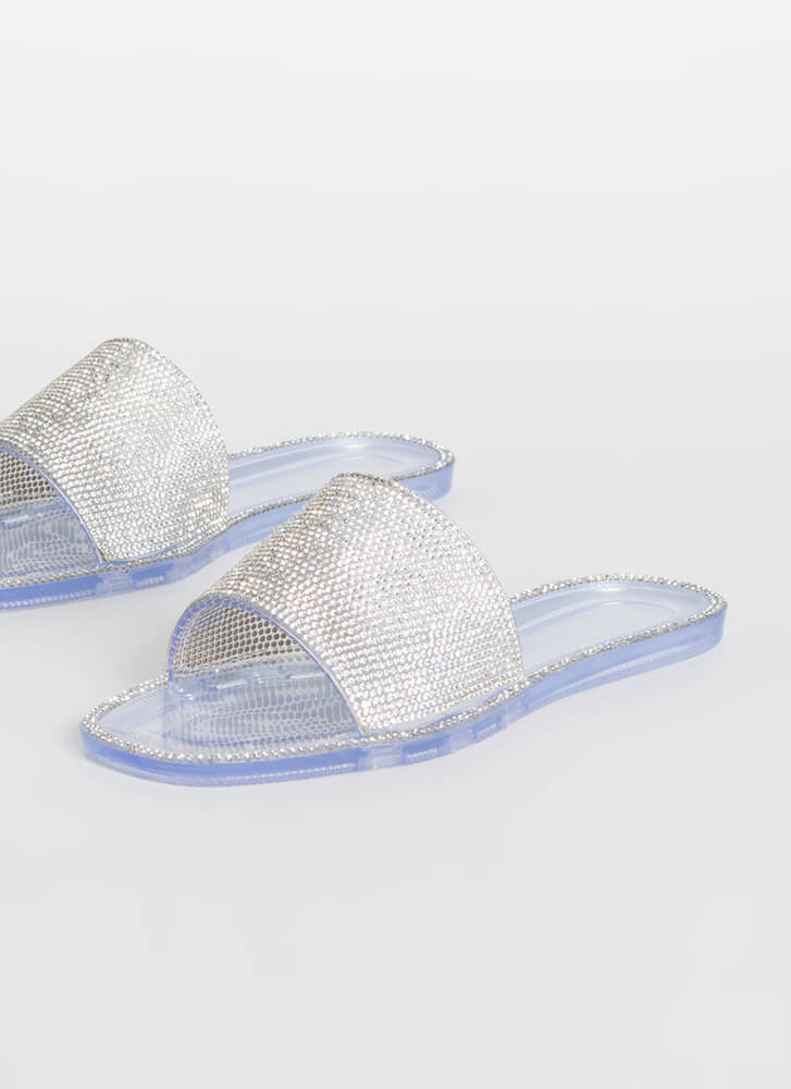 Edge Out Rhinestone Jelly Slide Sandals CLEAR