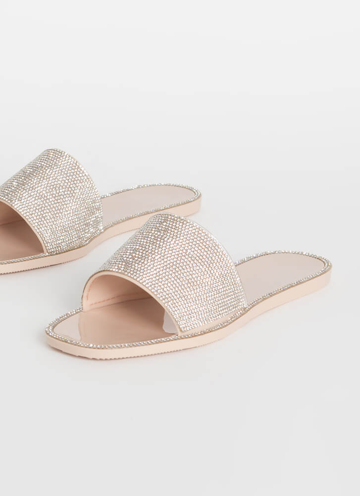 Edge Out Rhinestone Jelly Slide Sandals NUDE